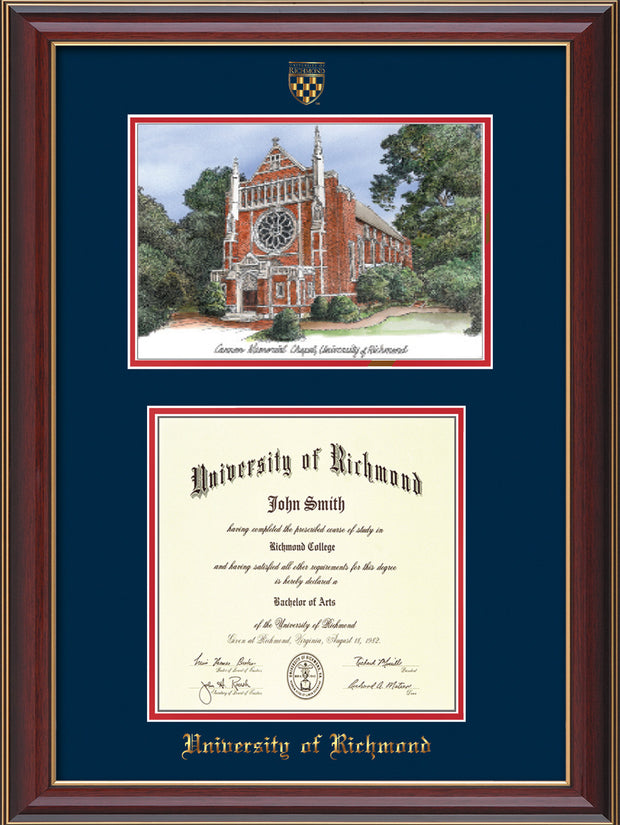 University of Richmond Diploma Frame - Cherry Lacquer - w/Embossed Seal & Name - Watercolor - Navy on Red mats