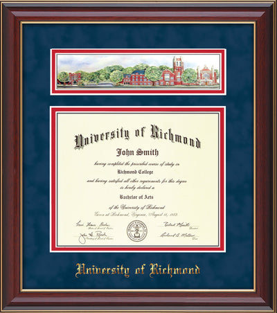 Image of University of Richmond Diploma Frame - Cherry Lacquer - w/Embossed School Name Only - Campus Collage - Navy Suede on Red mat