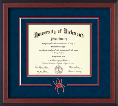 Image of University of Richmond Diploma Frame - Cherry Reverse - 3D Laser Spider Logo Cutout - Navy Suede on Red mat