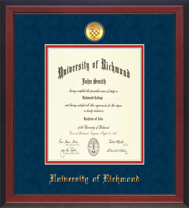 University of Richmond Diploma Frame - Cherry Reverse - w/24k Gold-Plated Medallion UR Name Embossing - Navy Suede on Red mats