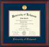 Image of University of Richmond Diploma Frame - Cherry Reverse - w/24k Gold-Plated Medallion UR Name Embossing - Navy Suede on Red mats