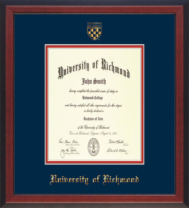 University of Richmond Diploma Frame - Cherry Reverse - w/Embossed Seal & Name - Navy on Red mats