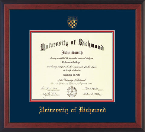 Image of University of Richmond Diploma Frame - Cherry Reverse - w/Embossed Seal & Name - Navy on Red mats