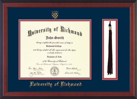 Image of University of Richmond Diploma Frame - Cherry Reverse - w/Embossed Seal & Name - Tassel Holder - Navy on Red mats