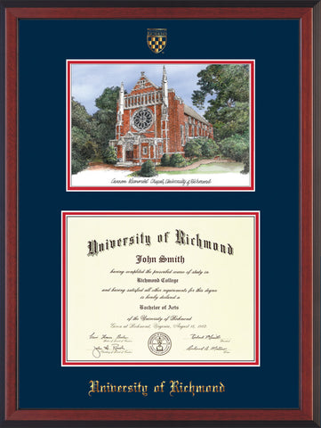 Image of University of Richmond Diploma Frame - Cherry Reverse - w/Embossed Seal & Name - Watercolor - Navy on Red mats