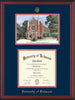 University of Richmond Diploma Frame - Cherry Reverse - w/Embossed Seal & Name - Watercolor - Navy on Red mats