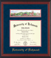 Image of University of Richmond Diploma Frame - Cherry Reverse - w/Embossed School Name Only - Campus Collage - Navy Suede on Red mat