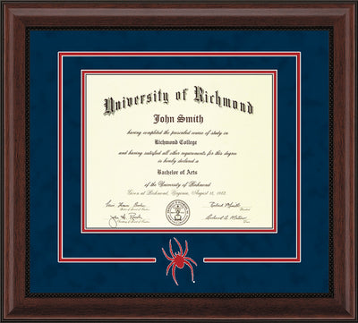 Image of University of Richmond Diploma Frame - Mahogany Bead - 3D Laser Spider Logo Cutout - Navy Suede on Red mat