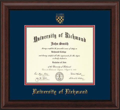 Image of University of Richmond Diploma Frame - Mahogany Bead - w/Embossed Seal & Name - Navy on Red mats