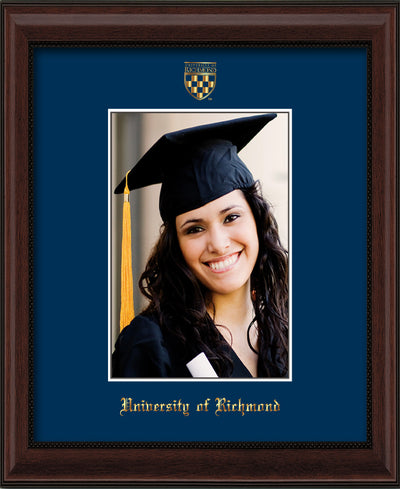 Image of University of Richmond 5 x 7 Photo Frame - Mahogany Bead - w/Official Embossing of UR Seal & Name - Single Navy mat