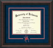 Image of University of Richmond Diploma Frame - Mahogany Braid - 3D Laser Spider Logo Cutout - Navy Suede on Red mat