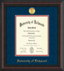 University of Richmond Diploma Frame - Mahogany Braid - w/24k Gold-Plated Medallion UR Name Embossing - Navy Suede on Red mats