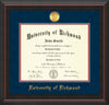 Image of University of Richmond Diploma Frame - Mahogany Braid - w/24k Gold-Plated Medallion UR Name Embossing - Navy Suede on Red mats