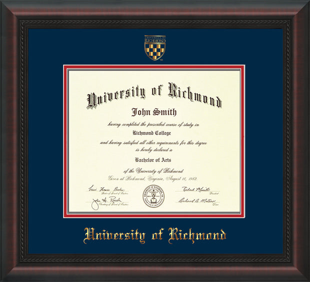 Image of University of Richmond Diploma Frame - Mahogany Braid - w/Embossed Seal & Name - Navy on Red mats