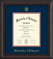 University of Richmond Diploma Frame - Mahogany Braid - w/Embossed Seal & Name - Navy on Red mats