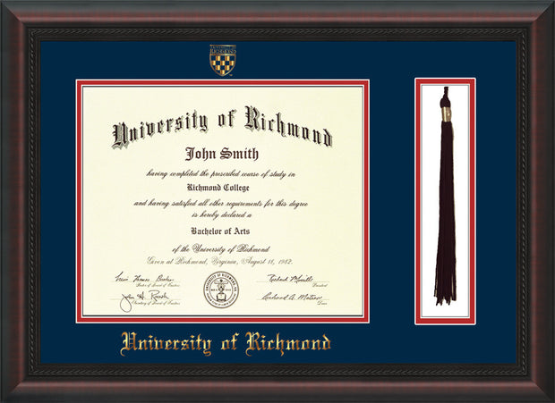 Image of University of Richmond Diploma Frame - Mahogany Braid - w/Embossed Seal & Name - Tassel Holder - Navy on Red mats