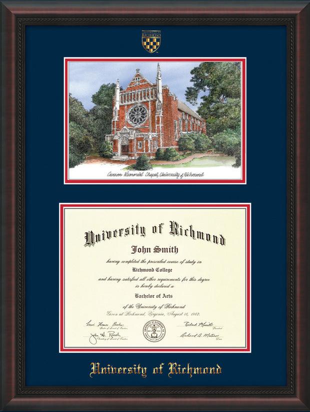 Image of University of Richmond Diploma Frame - Mahogany Braid - w/Embossed Seal & Name - Watercolor - Navy on Red mats