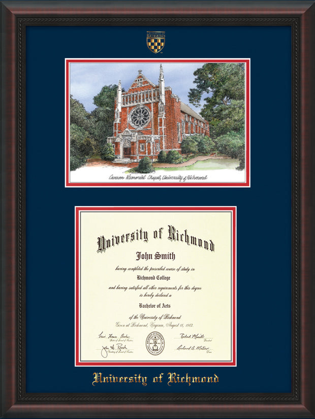 University of Richmond Diploma Frame - Mahogany Braid - w/Embossed Seal & Name - Watercolor - Navy on Red mats