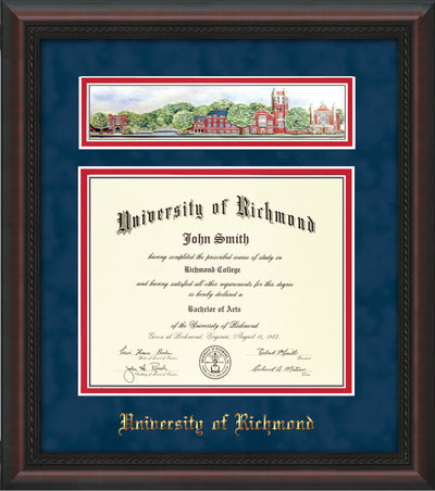Image of University of Richmond Diploma Frame - Mahogany Braid - w/Embossed School Name Only - Campus Collage - Navy Suede on Red mat