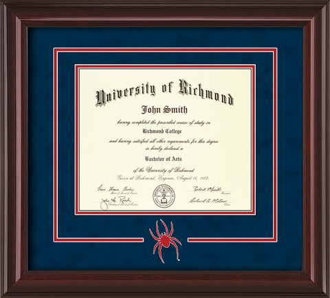 Image of University of Richmond Diploma Frame - Mahogany Lacquer - 3D Laser Spider Logo Cutout - Navy Suede on Red mat
