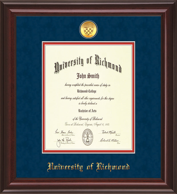 University of Richmond Diploma Frame - Mahogany Lacquer - w/24k Gold-Plated Medallion UR Name Embossing - Navy Suede on Red mats