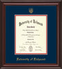 University of Richmond Diploma Frame - Mahogany Lacquer - w/Embossed Seal & Name - Navy on Red mats