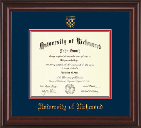 Image of University of Richmond Diploma Frame - Mahogany Lacquer - w/Embossed Seal & Name - Navy on Red mats
