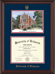 Image of University of Richmond Diploma Frame - Mahogany Lacquer - w/Embossed Seal & Name - Watercolor - Navy on Red mats