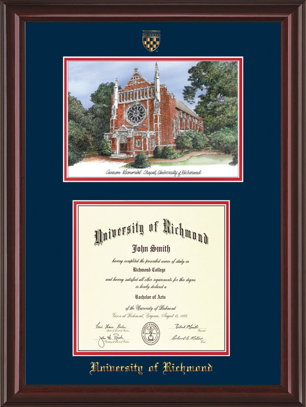 University of Richmond Diploma Frame - Mahogany Lacquer - w/Embossed Seal & Name - Watercolor - Navy on Red mats