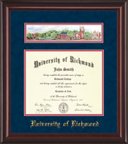 Image of University of Richmond Diploma Frame - Mahogany Lacquer - w/Embossed School Name Only - Campus Collage - Navy Suede on Red mat