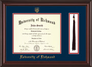 Image of University of Richmond Diploma Frame - Mahogany Lacquer - w/Embossed Seal & Name - Tassel Holder - Navy on Red mats