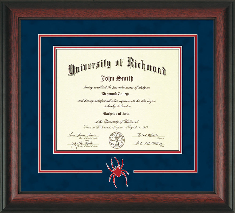 University Of Richmond Diploma Frame Rosewood 3d Cut Out