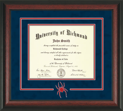 Image of University of Richmond Diploma Frame - Rosewood - 3D Laser Spider Logo Cutout - Navy Suede on Red mat