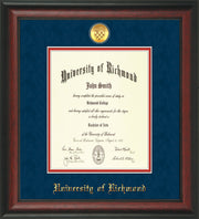University of Richmond Diploma Frame - Rosewood - w/24k Gold-Plated Medallion UR Name Embossing - Navy Suede on Red mats