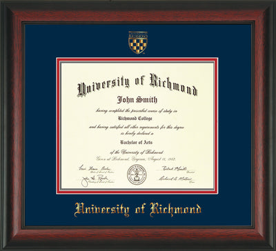 Image of University of Richmond Diploma Frame - Rosewood - w/Embossed Seal & Name - Navy on Red mats
