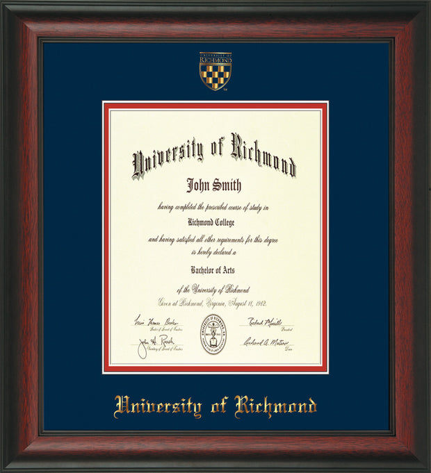 University of Richmond Diploma Frame - Rosewood - w/Embossed Seal & Name - Navy on Red mats