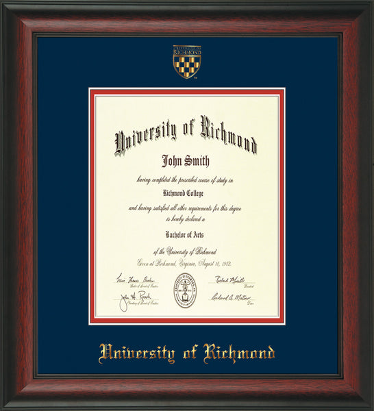 University Of Richmond Diploma Frame Rosewood W Ur Seal