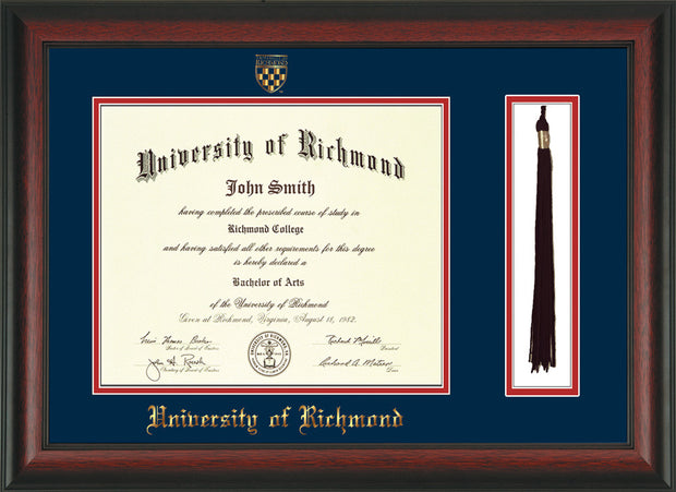 Image of University of Richmond Diploma Frame - Rosewood - w/Embossed Seal & Name - Tassel Holder - Navy on Red mats