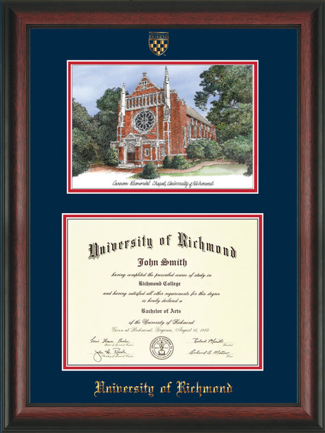 University Of Richmond Diploma Frame Rosewood Watercolor