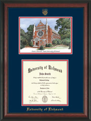 University of Richmond Diploma Frame - Rosewood - w/Embossed Seal & Name - Watercolor - Navy on Red mats