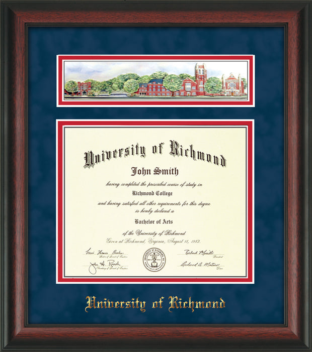 Image of University of Richmond Diploma Frame - Rosewood - w/Embossed School Name Only - Campus Collage - Navy Suede on Red mat