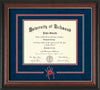 Image of University of Richmond Diploma Frame - Rosewood w/Gold Lip - 3D Laser Spider Logo Cutout - Navy Suede on Red mat