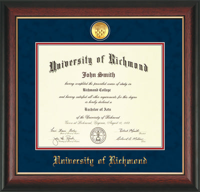 Image of University of Richmond Diploma Frame - Rosewood w/Gold Lip - w/24k Gold-Plated Medallion UR Name Embossing - Navy Suede on Red mats
