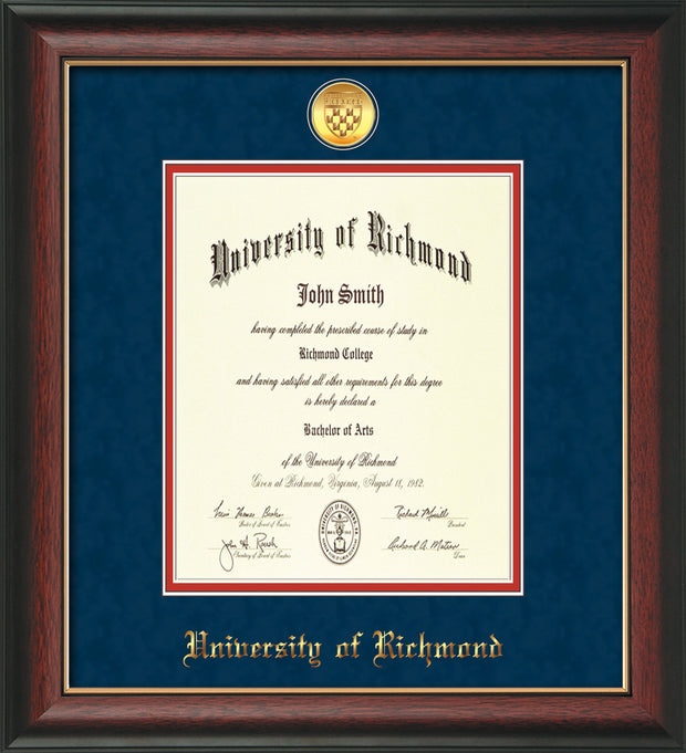 University of Richmond Diploma Frame - Rosewood w/Gold Lip - w/24k Gold-Plated Medallion UR Name Embossing - Navy Suede on Red mats
