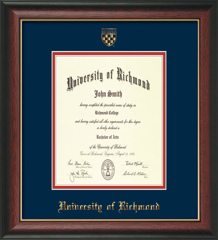 University of Richmond Diploma Frame - Rosewood w/Gold Lip - w/Embossed Seal & Name - Navy on Red mats