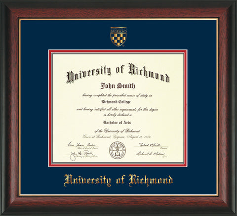Image of University of Richmond Diploma Frame - Rosewood w/Gold Lip - w/Embossed Seal & Name - Navy on Red mats