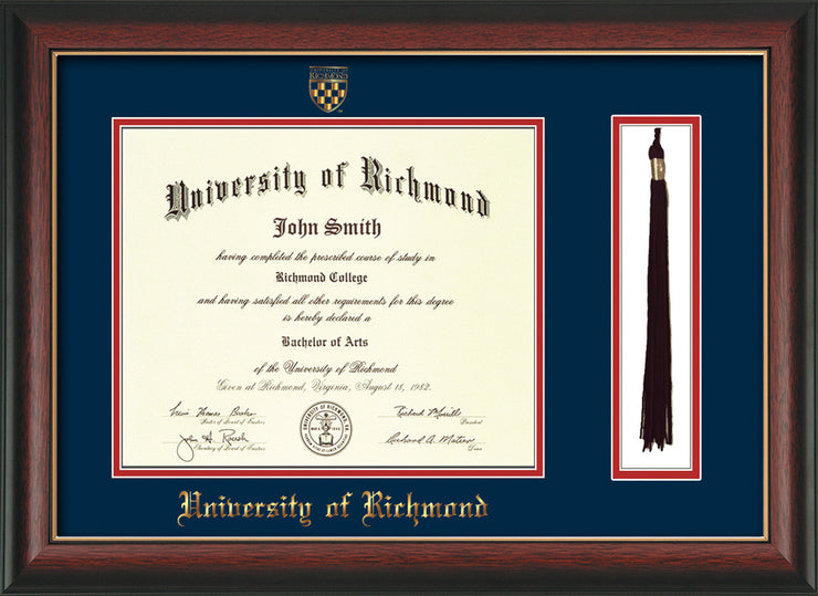 Image of University of Richmond Diploma Frame - Rosewood w/Gold Lip - w/Embossed Seal & Name - Tassel Holder - Navy on Red mats