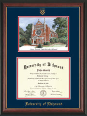 Image of University of Richmond Diploma Frame - Rosewood w/Gold Lip - w/Embossed Seal & Name - Watercolor - Navy on Red mats