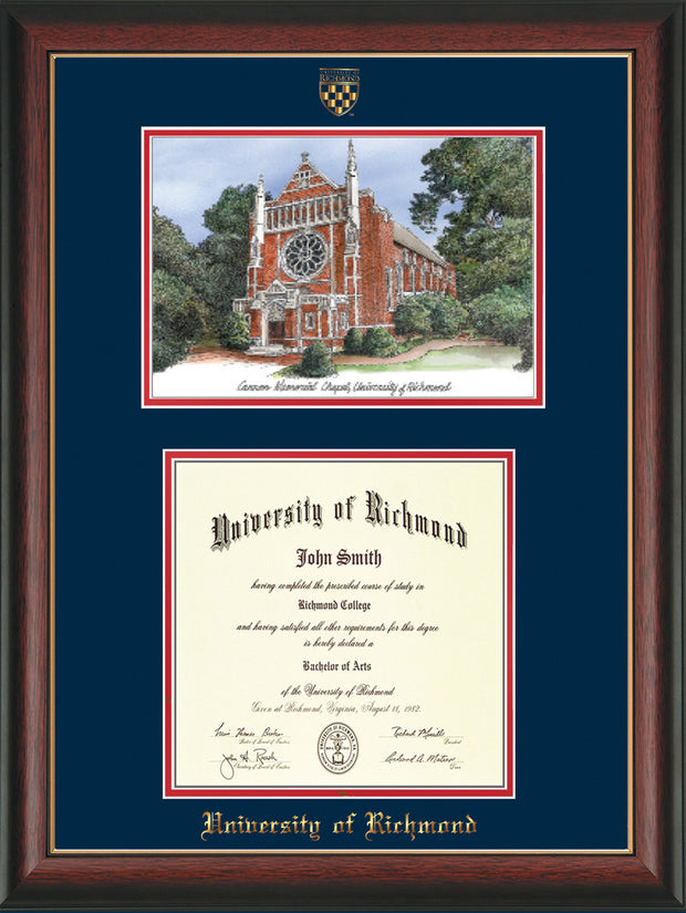 University of Richmond Diploma Frame - Rosewood w/Gold Lip - w/Embossed Seal & Name - Watercolor - Navy on Red mats
