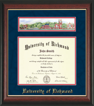 Image of University of Richmond Diploma Frame - Rosewood w/Gold Lip - w/Embossed School Name Only - Campus Collage - Navy Suede on Red mat